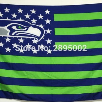 Seattle Seahawks Classic USA Stripes Banner Flag Polyester grommets 3' x 5' Custom metal holes Hockey Baseball Football Flag