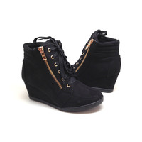 Black Suede Wedge Sneaker with Zipper Detail