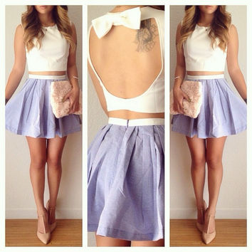 White Bow Tie Backless Cropped Top and Purple Mini Skirt