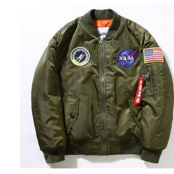 New Nasa Flight Pilot Jacket Men Ma1 Bomber jacket Air Force Embroidery Baseball Military Thick Jacket M -4XL