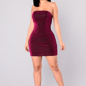 Eloise Metallic Dress - Fuchsia