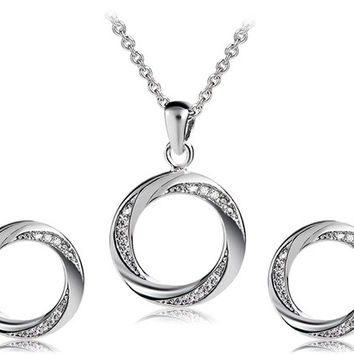 925 Silver Plated Crystal Decorated Hoop Earrings & Necklace Set (Silver)