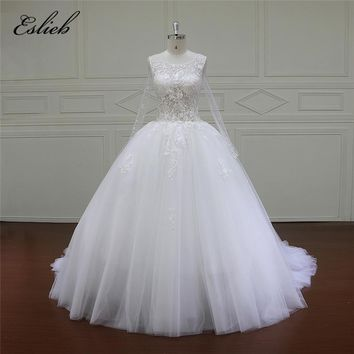 Eslieb Long Sleeve Wedding dress 2018 Plus size Lace Pearls beading Ball Gown white ivory african wedding gowns robe mariage