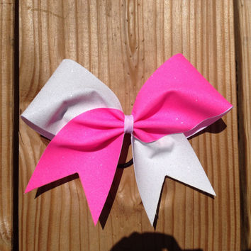 neon pink and white glitter cheer bow