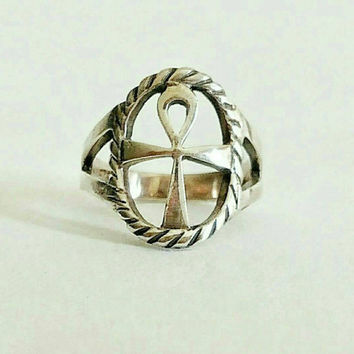 Vintage Ring | Anhk | Sterling Silver | Size 4.5 | Life Eternal | Egyptian |