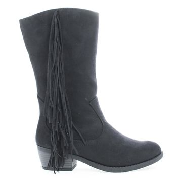 Elvo Black Gunmetal By Soda, Cowgirl Fringe Mid Calf Block Heel Women's Boots