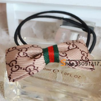 GUCCI temperament classic cloth college wind Europe and the United States big style bow hair ring hair rope Elegant khaki