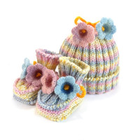 Baby Hat and Booties, Hand Knitted Set - Pastel Colors, 3 - 6 month