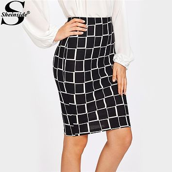 Sheinside Square Print Plaid Pencil Skirt 2017 Geometric Print Knee Length Elegant Skirt Women Work Wear Fall Skirt