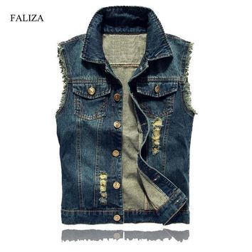 Trendy FALIZA Ripped Mens Denim Vest Male High Fashion Streetwear Men Casual Brand Hip Hop Sleeveless Jacket Male Tank Top 6XL SM-MJ-G AT_94_13