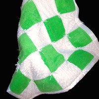 Baby Blanket - Baby Chenille and Minky Swirl Quilt - Green Baby Quilt
