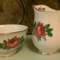 Jason Bone China Cream and Sugar - Rose pattern