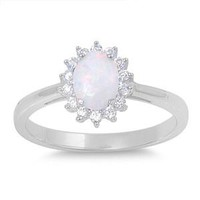 Sterling Silver Sun Clustered 11MM White Lab Opal Ring