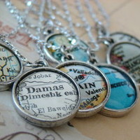The Weekend Store — Vintage Map Necklace