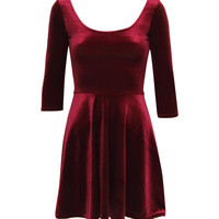 Amelia 3/4 Sleeve Velvet Skater Dress in Wine Red – pilot
