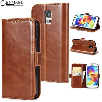 "Cenmaso Cases For Samsung Galaxy S5 5.1"" Luxury PU Leather Flip Case Wallet Card Holster Cover Protective Mobile Phone Shell"