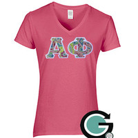 CUSTOM Gildan Ladies V Neck with Greek (Sorority) Letters