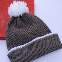 College Student Gift, Gray Knit Beanie, Slouchy Beanie, Slochy Pom Pom Beanie, Christmas Gift for College Kid