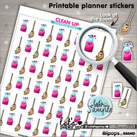 Printable Planner Stickers, Planner Stickers, Clean Up Stickers, Kawaii Stickers, Printable Stickers, Instant Download, Planner Accessories