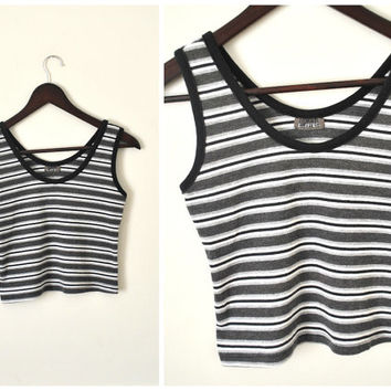 early 90s CROP top vintage CLUB wear black white + grey striped skin tight GRUNGE cropped tank small