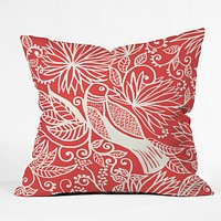 Joy Laforme Folklore Garden Bird Throw Pillow