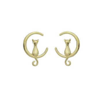 Gold Cute Moon Cat Stud Earrings For Women