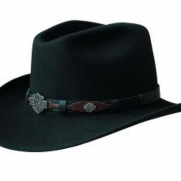 Harley Davidson Men's Leather Overlay And Concho Wool Felt Crushable Cowboy Hat Black Large