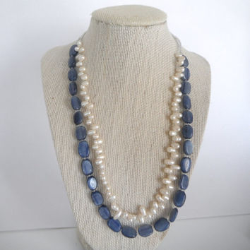 Blue Kyanite and White Freshwater Pearl Double Strand Necklace Gift fashion under 40