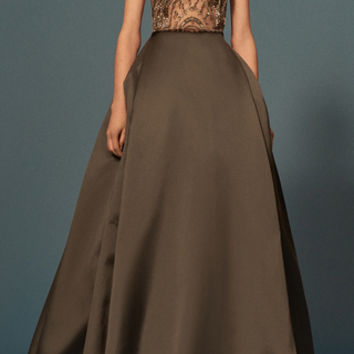 Embroidered Open Back Ball Gown
