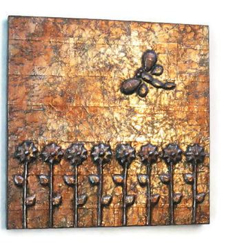 Flowers and Dragonfly 3-D modern art panel with copper faux finish original 3d mixed media painting metal wall art gallery panel