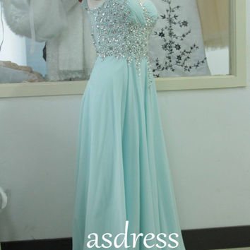 Mint One Shoulder Bridesmaid Dress, Swarovski Crystal Chiffon Pageant Gown Custom Sage Long Homecoming Prom Gowns Cocktail gown bridal dress