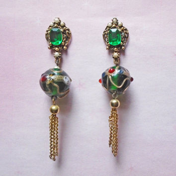 Emerald Rhinestone Dangle Earrings - OOAK Drop Earrings with Vintage - Chain Tassels