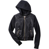 Mossimo Supply Co. Junior's Mixed Media Hooded Jacket -Black