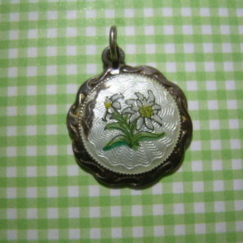 Edelweiss Charm Pendant-Vintage Antique Guilloche Sterling Silver-Hand Painted Enamel-Bavaria Swiss Alps Flower-FOB-Collectible Jewelry Gift