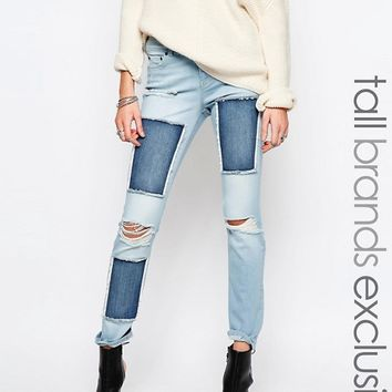 Noisy May Tall Scarlet Patched Jean at asos.com