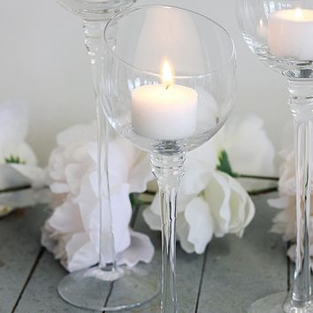 """Set of 3 Clear Glass Candle Holders - 7.75-10"""" Tall"""