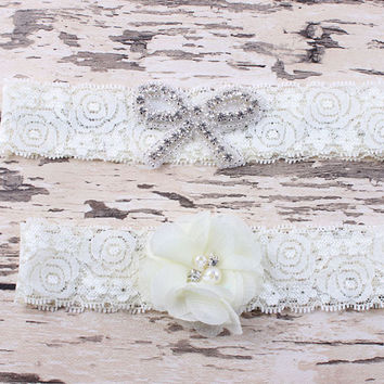 Vintage Bridal Garter Wedding Garter Set with Chiffon Blossoms pearls and rhinestones
