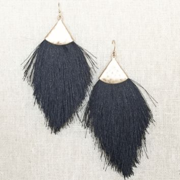 Kixters - Black Tassel Fringe Earrings