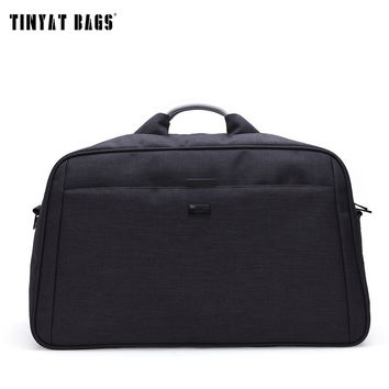 TINYAT Men Large Travelling Luggage Bag Business Style Duffle Nylon Functional Handle & Shoulder Travel Bag 40L T305 Black Gray