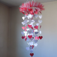 SALE! Red/White Heart paper mobile. Happy Valentines! engagement, bridal, Baby nursery. Crib mobile, Love, Gift