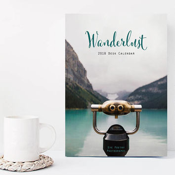 Wanderlust 2018 Calendar, 2018 Desk Calendar, Travel Gift Under 25, Stocking Stuffer, Travel Photography, 5x7, Coworker Gift