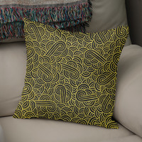 «Faux gold and black swirls doodle», Numbered Edition Coussin by Savousepate - From 25€ - Curioos
