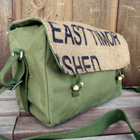 Vintage Military Messenger Bag Burlap Flap by clpstudio on Etsy