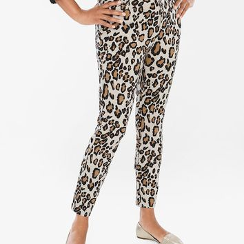 Chico's Diamond Fit Refined Ponte Animal Ankle Pants