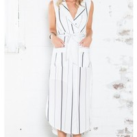 Heartbreak War maxi dress in white stripe