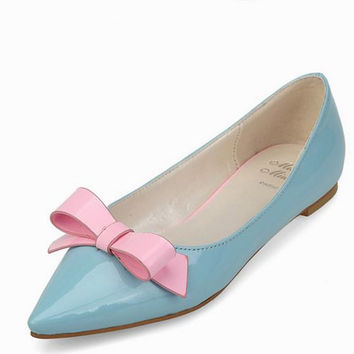Bowknot Sweet Pointed Toe Joint Color Flattie