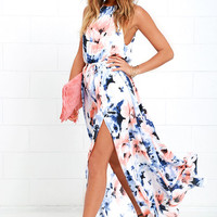 At Long Last Peach and Blue Floral Print Maxi Dress