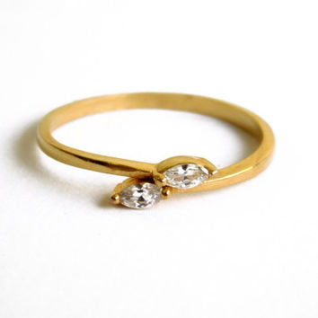 Two Stone Ring, Gold-filled Ring, Gold Stacking Ring, Wholesale Gold Ring, Clear Stone Ring
