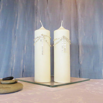 Pure white soy pillar candles, Holidays sparkling white candles, white earth friendly elegant candles