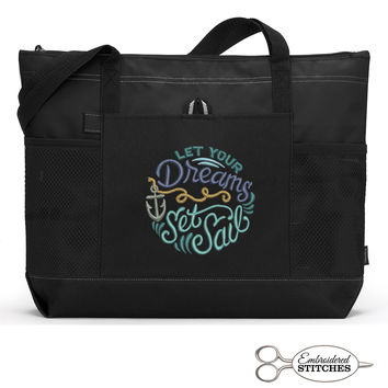 Let Your Dreams Set Sail Personalized  Zippered Tote Bag with Mesh Pockets